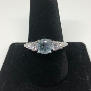 Stamped 925 SS Aquamarine Solitaire Ring Size 10